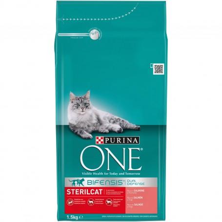 Pienso Purina One Bifensis Esterilizados rico en Salmón y Trigo para gatos