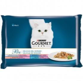 comida húmeda para gatos Purina Gourmet Perle Delicias del Océano con pescado del océano, con lenguado, salmón y atún
